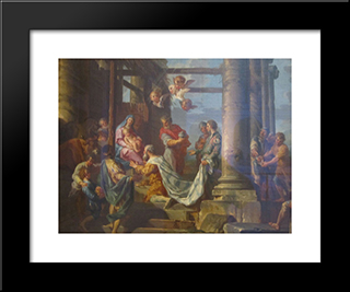 Adoration Of The Shepherds, Adoration Of The Magi: Modern Black Framed Art Print by Giovanni Paolo Panini