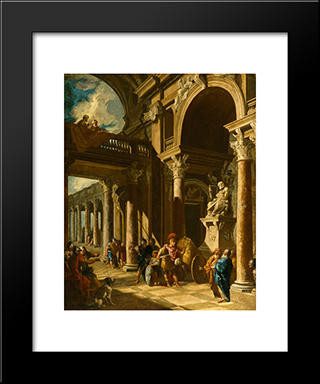 Alexander The Great Cutting The Gordian Knot: Modern Black Framed Art Print by Giovanni Paolo Panini