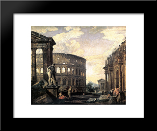 Ancient Roman Ruins: Modern Black Framed Art Print by Giovanni Paolo Panini