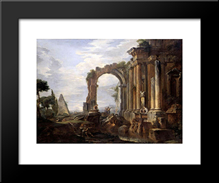 Capriccio Of Classical Ruins: Modern Black Framed Art Print by Giovanni Paolo Panini