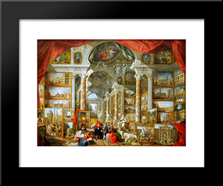 Gallery Of Views Of Modern Rome: Modern Black Framed Art Print by Giovanni Paolo Panini