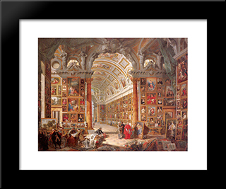 Interior Of A Picture Gallery With The Collection Of Cardinal Silvio Valenti Gonzaga: Modern Black Framed Art Print by Giovanni Paolo Panini