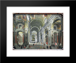Interior Of St. Peter'S, Rome: Modern Black Framed Art Print by Giovanni Paolo Panini