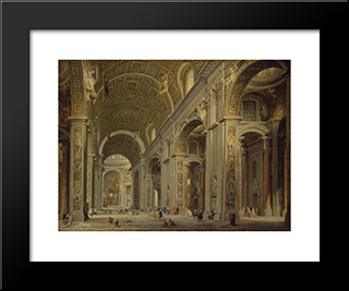 Interior Of St Peter'S In Rome: Modern Black Framed Art Print by Giovanni Paolo Panini