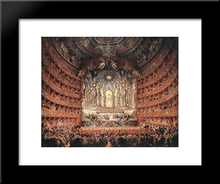 Musical Fete: Modern Black Framed Art Print by Giovanni Paolo Panini