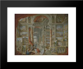 Picture Gallery With Views Of Modern Rome: Modern Black Framed Art Print by Giovanni Paolo Panini