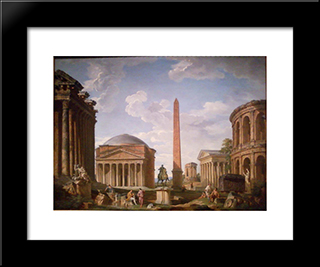 Roman Capriccio The Pantheon And Other Monuments: Modern Black Framed Art Print by Giovanni Paolo Panini
