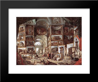 Roman Ruins And Sculpture: Modern Black Framed Art Print by Giovanni Paolo Panini