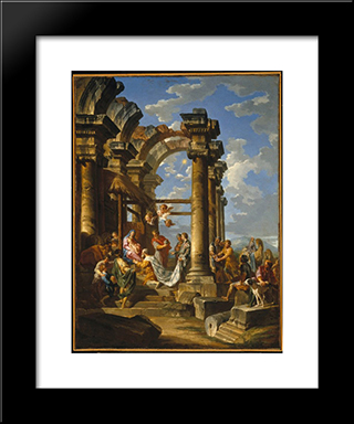 The Adoration Of The Magi: Modern Black Framed Art Print by Giovanni Paolo Panini