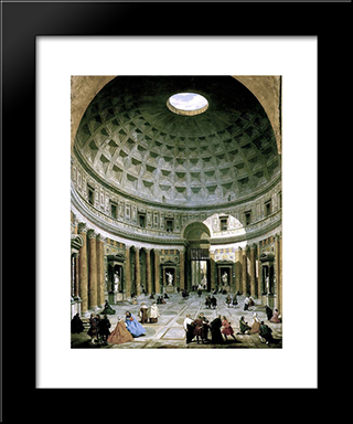 The Interior Of The Pantheon (Rome): Modern Black Framed Art Print by Giovanni Paolo Panini