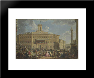 The Lottery At Palazzo Montecitorio: Modern Black Framed Art Print by Giovanni Paolo Panini