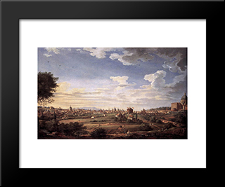 View Of Rome From Mt. Mario, In The Southeast: Modern Black Framed Art Print by Giovanni Paolo Panini