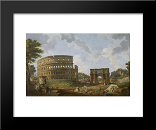 View Of The Colosseum: Modern Black Framed Art Print by Giovanni Paolo Panini