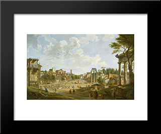 View Of The Roman Forum: Modern Black Framed Art Print by Giovanni Paolo Panini