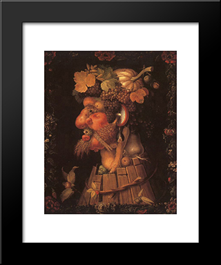 Autumn: Modern Black Framed Art Print by Giuseppe Arcimboldo