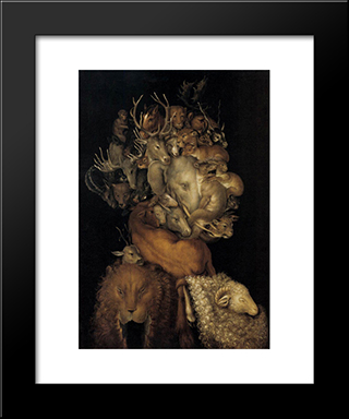 Earth: Modern Black Framed Art Print by Giuseppe Arcimboldo