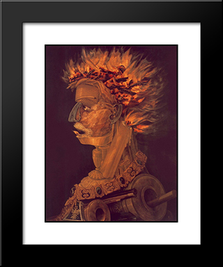 Fire: Modern Black Framed Art Print by Giuseppe Arcimboldo