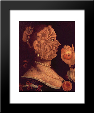 Portrait Of Eve: Modern Black Framed Art Print by Giuseppe Arcimboldo