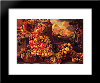 Seated Figure Of Summer: Modern Black Framed Art Print by Giuseppe Arcimboldo