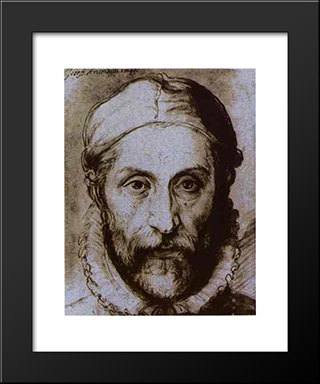 Self-Portrait: Modern Black Framed Art Print by Giuseppe Arcimboldo