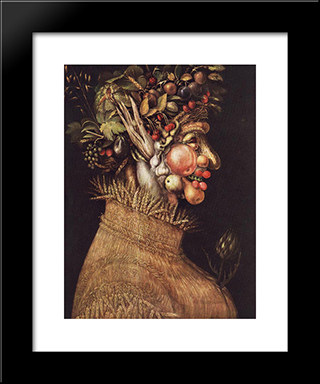 Summer: Modern Black Framed Art Print by Giuseppe Arcimboldo