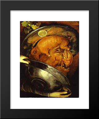 The Cook: Modern Black Framed Art Print by Giuseppe Arcimboldo