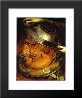 The Dinner: Modern Black Framed Art Print by Giuseppe Arcimboldo