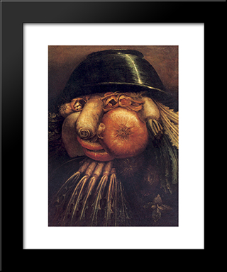 The Gardner: Modern Black Framed Art Print by Giuseppe Arcimboldo