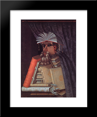 The Librarian: Modern Black Framed Art Print by Giuseppe Arcimboldo