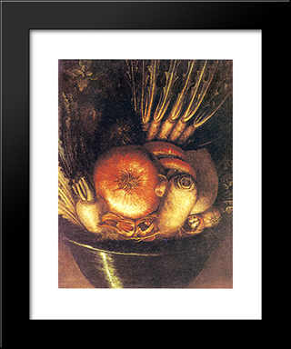 The Vegetable Bowl: Modern Black Framed Art Print by Giuseppe Arcimboldo