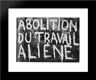 Abolition Of Alienated Labor (Made In Collaboration With Guy Debord): Modern Black Framed Art Print by Giuseppe Pinot Gallizio