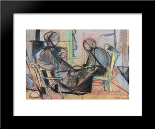 Figure In Un Interno: Modern Black Framed Art Print by Giuseppe Santomaso