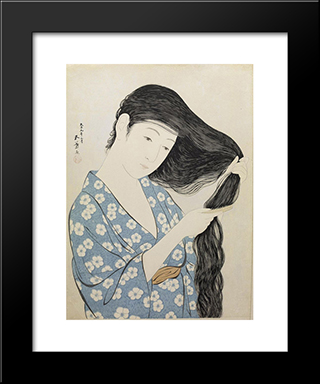 Kamisuki (Combing The Hair): Modern Black Framed Art Print by Goyo Hashiguchi