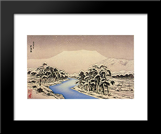 Mt. Ibuki In Snow: Modern Black Framed Art Print by Goyo Hashiguchi