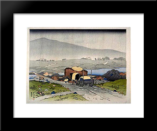 Rain At Yabakei: Modern Black Framed Art Print by Goyo Hashiguchi