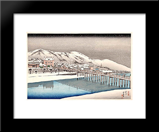 Sanjo Bridge, Kyoto: Modern Black Framed Art Print by Goyo Hashiguchi