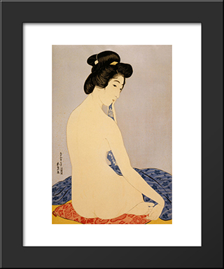Woman After Bath: Modern Black Framed Art Print by Goyo Hashiguchi