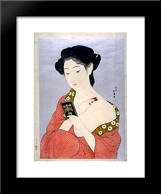 Woman Applying Powder: Modern Black Framed Art Print by Goyo Hashiguchi