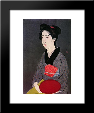 Woman Holding Tray: Modern Black Framed Art Print by Goyo Hashiguchi