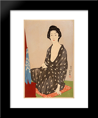 Woman In Summer Garment: Modern Black Framed Art Print by Goyo Hashiguchi