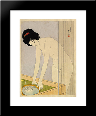 Woman Washing Her Face: Modern Black Framed Art Print by Goyo Hashiguchi