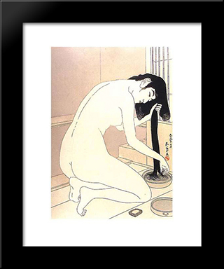 Woman Washing Her Hair: Modern Black Framed Art Print by Goyo Hashiguchi