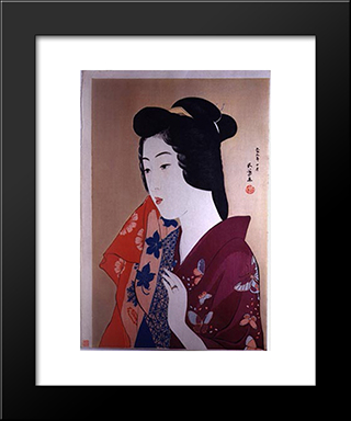 Woman With A Hand Towel: Modern Black Framed Art Print by Goyo Hashiguchi