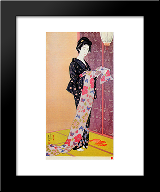 Young Woman In Summer Kimono: Modern Black Framed Art Print by Goyo Hashiguchi