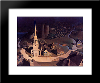 The Midnight Ride Of Paul Revere: Modern Black Framed Art Print by Grant Wood