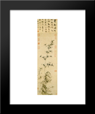 Bamboo And Stone: Modern Black Framed Art Print by Guan Daosheng