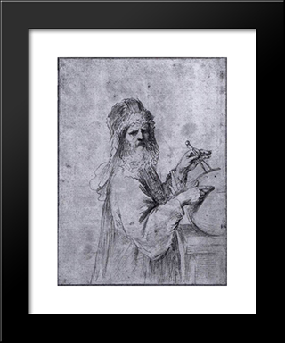 A Cosmographer: Modern Black Framed Art Print by Guercino