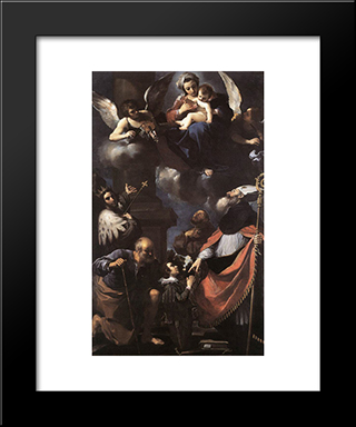 A Donor Presented To The Virgin: Modern Black Framed Art Print by Guercino