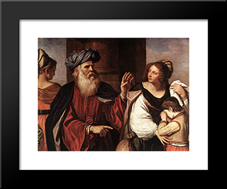 Abraham Casting Out Hagar And Ishmael: Modern Black Framed Art Print by Guercino