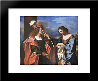 Absalom And Tamar: Modern Black Framed Art Print by Guercino
